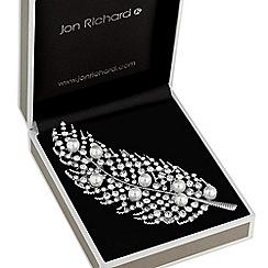Jon Richard - Pearl and crystal leaf brooch