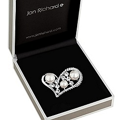 Jon Richard - Crystal and pearl heart brooch