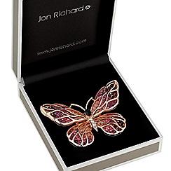 Jon Richard - Rose gold open butterfly brooch