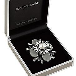 Jon Richard - Silver grey pearl centre brooch