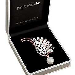 Jon Richard - Rose gold crystal wing pearl drop brooch