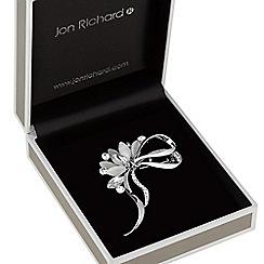 Jon Richard - Grey crystal bow brooch
