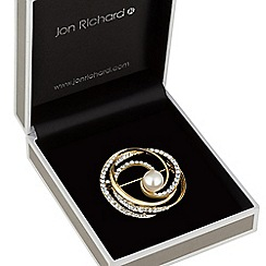Jon Richard - Crystal and pearl swirl brooch