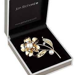 Jon Richard - Gold pearl flower brooch