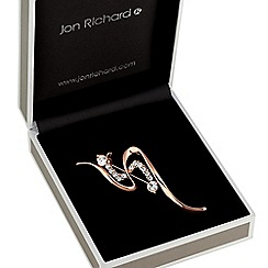 Jon Richard - Rose gold crystal swirl brooch
