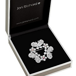 Jon Richard - Butterfly and floral wreath brooch
