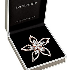 Jon Richard - Rose gold open flower brooch