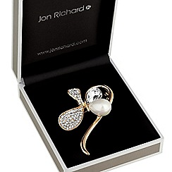 Jon Richard - Crystal pave and pearl loop brooch