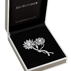 Jon Richard - Double flower crystal brooch