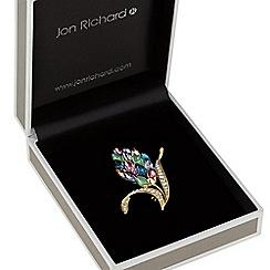 Jon Richard - Multi colour crystal cluster leaf brooch
