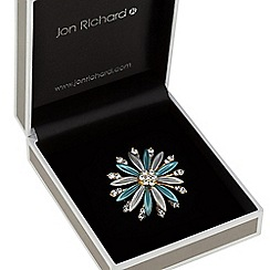 Jon Richard - Teal crystal flower brooch