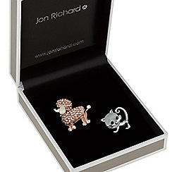 Jon Richard - Crystal poodle and cat brooch set