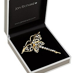Jon Richard - Gold crystal dragonfly brooch