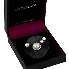 Jon Richard - Black wave pearl brooch