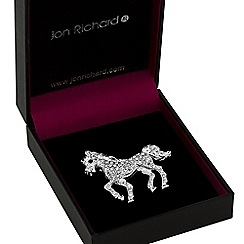 Jon Richard - Silver crystal horse brooch