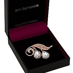 Jon Richard - Rose gold floral droplet brooch
