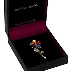 Jon Richard - Multi colour crystal flower brooch