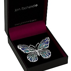Jon Richard - Blue crystal open butterfly brooch