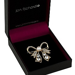 Jon Richard - Gold crystal bow brooch