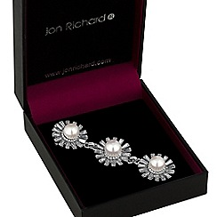 Jon Richard - Pearl and crystal flower droplet brooch