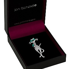 Jon Richard - Green crystal cat brooch