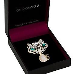 Jon Richard - Crystal cluster cat brooch
