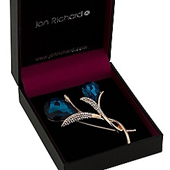 Jon Richard - Teal crystal tulip brooch