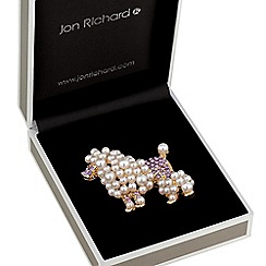 Jon Richard - Pearl and crystal poodle brooch