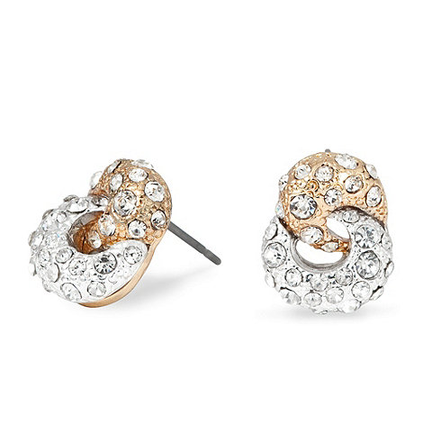 Jon Richard - Two tone pave crystal knot earring