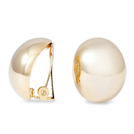 Jon Richard - Polished gold button clip on earring