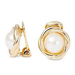 Jon Richard - Polished gold pearl twist clip on earring