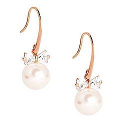 Jon Richard - Cubic zirconia crystal bow and pearl drop earring