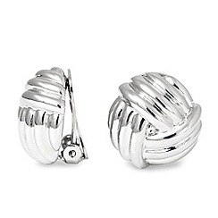 Jon Richard - Polished silver knot clip on earring