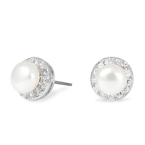 Jon Richard - Mini pearl and crystal surround stud earring