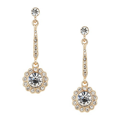 Jon Richard - Crystal gold stick flower drop earring