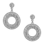 Pave crystal disc drop earring