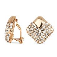 Polished gold and crystal square clip on earring