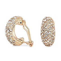 Jon Richard - Gold and crystal half hoop clip on earring