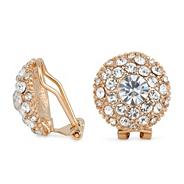 Pave crystal gold bouton clip on earring