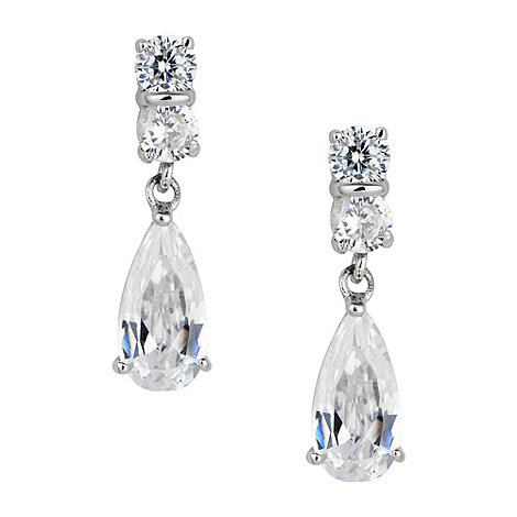 Jon Richard - Solitaire and cubic zirconia peardrop earring
