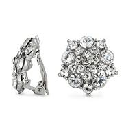 Multi crystal cluster clip on earring