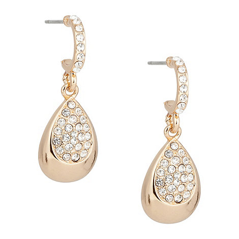 Jon Richard - Polished gold and crystal peardrop earring