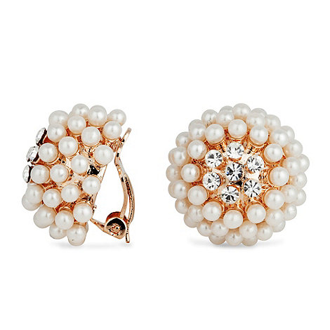 Jon Richard - Pearl and crystal cluster bouton clip on earring