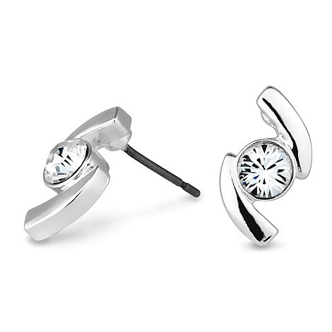 Jon Richard - Polished silver s shape crystal set stud earring