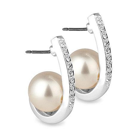 Jon Richard - Pearl and crystal encased hoop earring