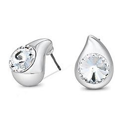 Jon Richard - Crystal encased polished peardrop stud earring