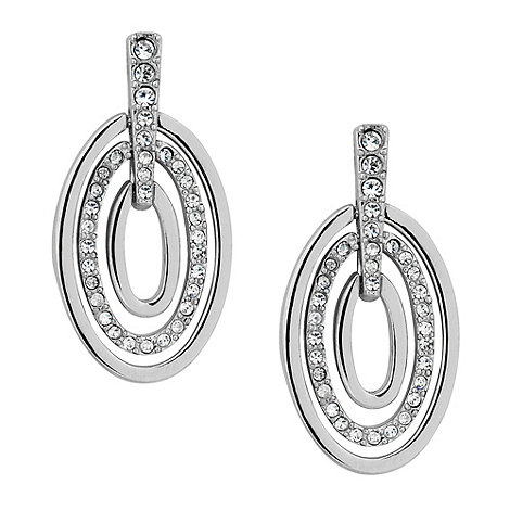 Jon Richard - Pave crystal and polished silver hoop drop earring