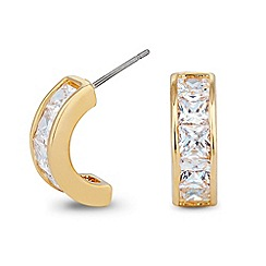Jon Richard - Crystal encased polished gold hoop earring