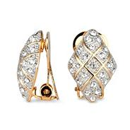 Diamond effect crystal crossover clip on earring