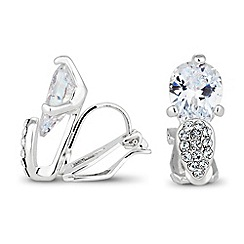 Jon Richard - Cubic zirconia peardrop clip on earring